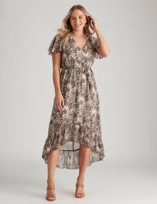 Crossroads Flutter Sleeve Wrap Dress