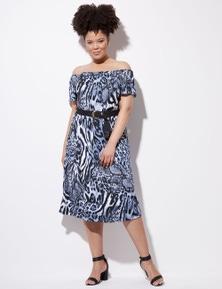 Crossroads Belt Flutter Sleeve Dress