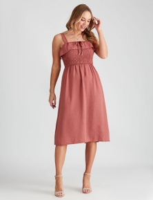 Crossroads Ruffle Shirred Midi