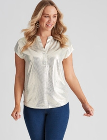 Crossroads Extended Sleeve Gold Foil Top