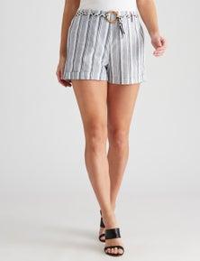 Crossroads Stripe Robe Belted Short