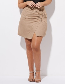 Crossroads Ruched Side Button Skirt