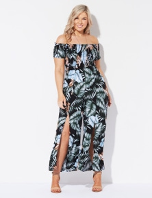 Crossroads Shirred Split Jumpsuit