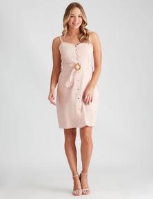 Crossroads Button Front Pocket Dress