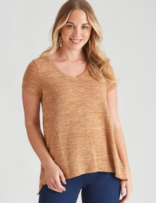 Crossroads Peak Hem Faux Knit Top