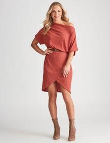 Crossroads Extended Sleeve Knit Wrap Dress