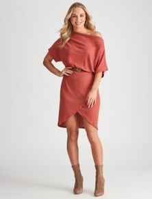 Crossroads Extended Sleeve Knit Wrap Dress