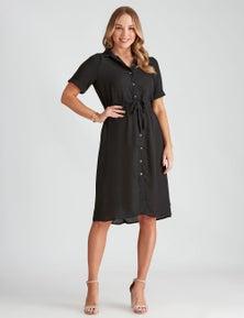 Crossroads Short Sleeve Utility Midi Dress