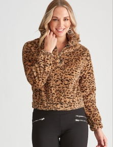 Crossroads Faux Fur Zip Sweater