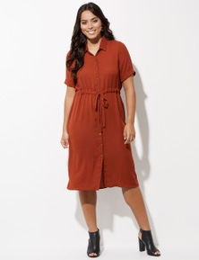 Crossroads Short Sleeve Utility Midi Dress