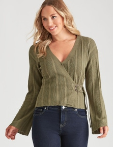 Crossroads Ribbed Buckle Wrap Top Jumper