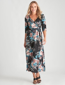 Crossroads 3/4 Sleeve Wrap Maxi Dress