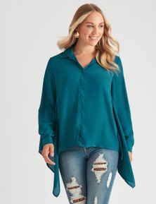 Crossroads Peak Hem Shirt With Lace