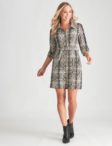 Crossroads Knit Belted Shirt Dress