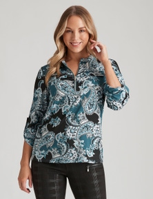 Crossroads Zip Neck Knit Shirt