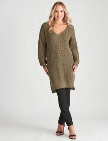 Crossroads V-Neck Knit Tunic Dress