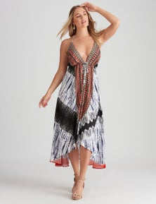 STRAPPY TIE DYE EMBELLISHED MAXI DRESS