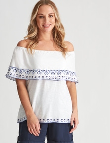 Crossroads Embroidered Tiered Top