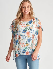 Crossroads Floral Overlay Top