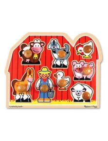 Melissa & Doug - Large Farm Jumbo Knob Puzzle - 8pc