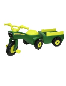 John Deere Ride On Pedal Trike TractorPull Wagon Kids Children Toy Tricycle