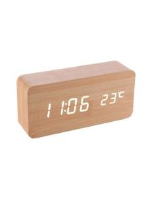 Wooden LED Display Digital Alarm ClockBamboo-Assorted Colour