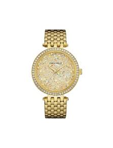 Caravelle by Bulova Women's 44L235 Modern Crystal Rock Dial Gold-Tone Watch