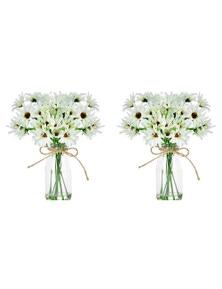 2X Artificial 25Cm White Chrysanthemum In Glass Vase