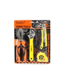 4 Piece Tool Set Pliers Adjustable Spanner Box Cutter 3m Tape Measure S293