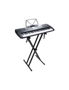61 Key Full Size Electronic Keyboard LCD Screen Wired Microphone MK2106 & Double Braced Stand Pack