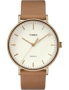 Timex Fairfield 41mm White Dial Leather Strap Watch