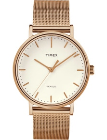 Timex Fairfield 37mm Rose Gold Mesh Strap Watch