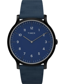 Timex Norway 40mm Silver Tone Leather Strap Watch