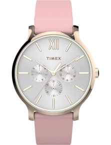 Timex Transcend 38mm Rose Tone Case Pink Leather Strap Watch