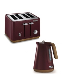 Morphy Richards Aspect Cork Electric Kettle/ToasterMaroon 2pc