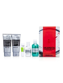Anthony Logistics For Men The Essential Traveler Kit:  Cleanser + Mositurizer + Lip Blam + Shave Cream + Hair And Body Wash