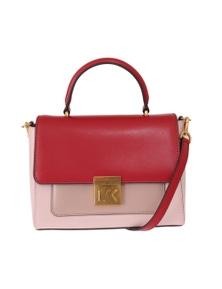 Michael Kors Red Pink MINDY Satchel Crossbody Bag