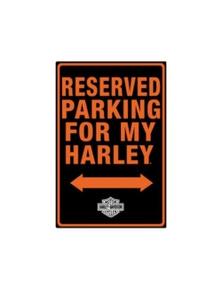 Harley Davidson Reserved Parking Die Cut Embossed Tin Sign