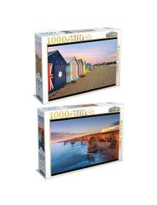 Tilbury Puzzle - Brighton Beach Boxes/12 Apostles, Sunset 2X 1000Pc