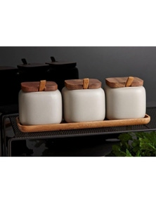 Ladelle Essentials Stone Canister & Spoon Counter Set