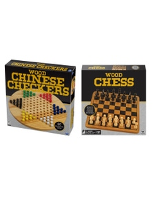 2Pc Cardinal Classic Wood Chess/Checkers Board Game
