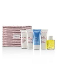 Clarins French Beauty Box: 1x Cleanser 30ml, 1x HydraQuench Cream 30ml, 1x Beauty Flash Balm 30ml, 1x Body Treatment Oil, 1x B/L