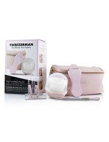 Tweezerman Bright Complexion Prep Set: Complexion Cleansing Brush + Bright Complexion Facial Dermaplaner + No Slip Skincare Tool + Bag