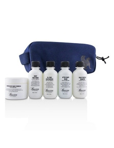 Baxter Of California Travel Starter Kit: Face Wash + Shave Formula + Moisturizer + Shave Balm + Shampoo + Bag