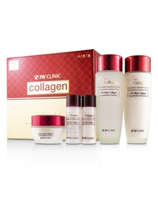 3W Clinic Collagen Skin Care Set: Softener 150ml + Emulsion 150ml + Cream 60ml + Softener 30ml + Emulsion 30ml