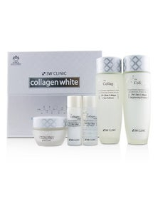 3W Clinic Collagen White Skin Care Set: Softener 150ml + Emulsion 150ml + Cream 60ml + Softener 30ml + Emulsion 30ml