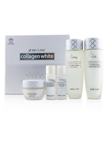 3W Clinic Collagen White Skin Care Set: Softener 150ml + Emulsion 150ml + Cream 60ml + Softener 30ml + Emulsion 30ml