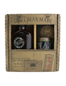 18.21 Man Made Men Made Wash And Wax Set - Sweet Tobacco: 1x Shampoo, Conditioner And Body Wash 530ml + 1x Hair Wax 56g