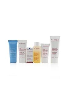 Clarins Head-to-Toe Moisturizing Essentials Set: Facial Cleanser+Eye Gel+Beauty Flash Balm+Hydra-Essentiel Cream+Body Lotion+Hand....