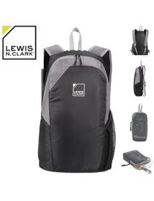 "Lewis N. Clark 18"" Packable Foldable Compact Travel Backpack Bag - Black/Grey"